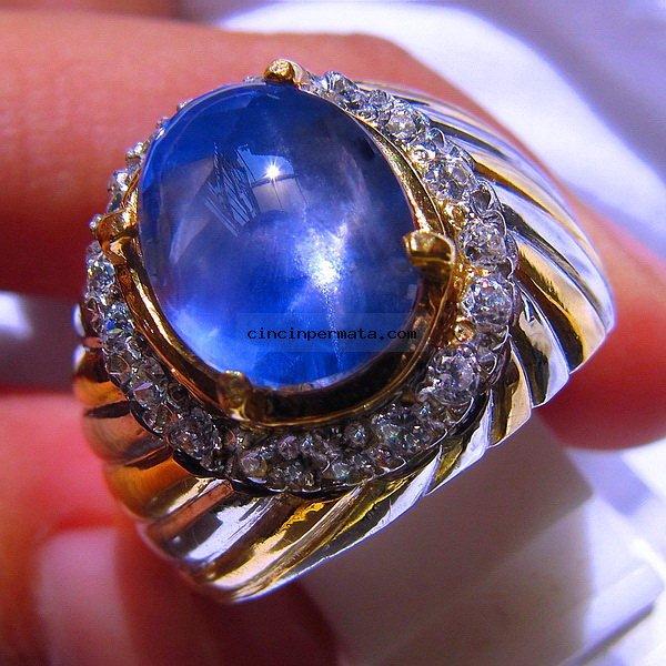 batu permata blue safir star sa043 cincinpermatacom