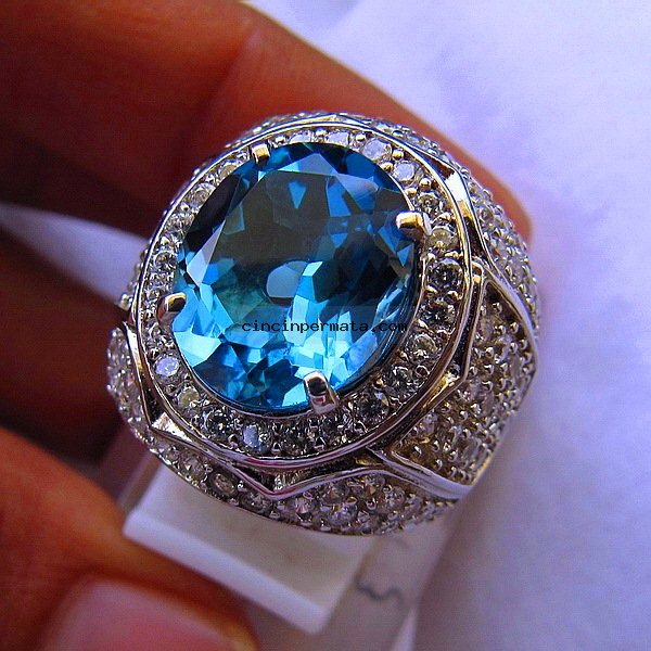 batu permata, cincin permata, batu mulia CINCIN BATU LONDON BLUE TOPAZ